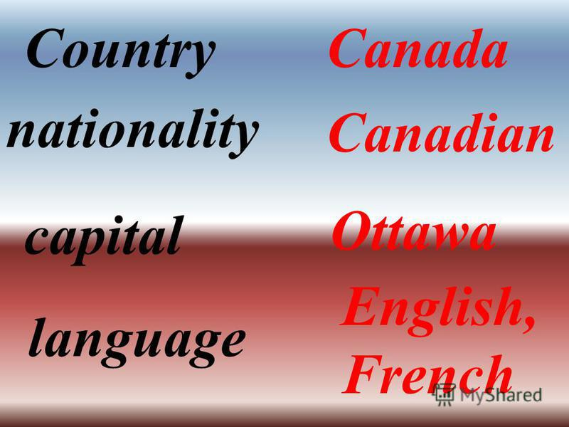 CountryCanada nationality Canadian capital Ottawa language English, French