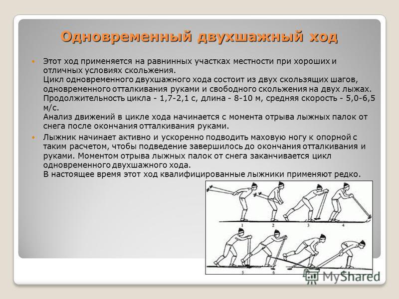 Одновременный двухшажный ход Этот ход применяется на равнинных участках местности при хороших и отличных условиях скольжения. Цикл одновременного двухшажного хода состоит из двух скользящих шагов, одновременного отталкивания руками и свободного сколь
