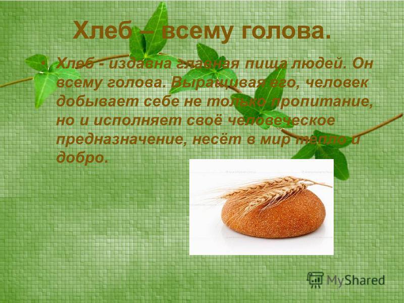 Хлеб – всему голова. Хлеб - издавна главная пища людей. Он всему голова. Выращивая его, человек добывает себе не только пропитание, но и исполняет своё человеческое предназначение, несёт в мир тепло и добро.
