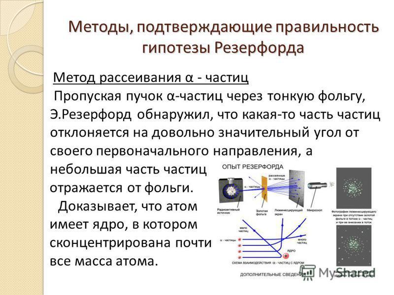 Методы, подтверждающие правильность гипотезы Резерфорда Метод рассеивания α - частиц Пропуская пучок α-частиц через тонкую фольгу, Э.Резерфорд обнаружил, что какая-то часть частиц отклоняется на довольно значительный угол от своего первоначального на