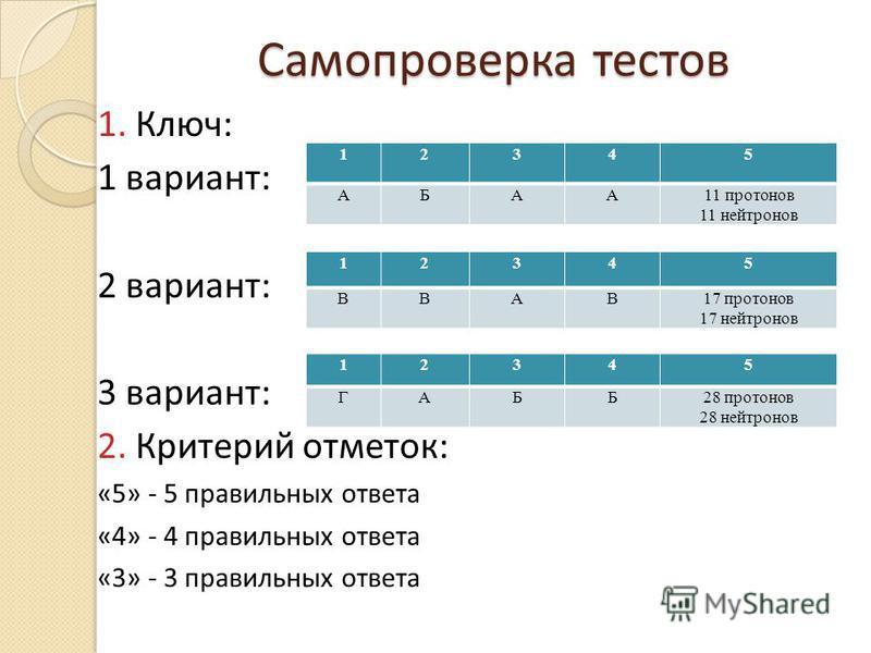 Самопроверка тестов 1. Ключ: 1 вариант: 2 вариант: 3 вариант: 2. Критерий отметок: «5» - 5 правильных ответа «4» - 4 правильных ответа «3» - 3 правильных ответа 12345 АБАА11 протонов 11 нейтронов 12345 ВВАВ17 протонов 17 нейтронов 12345 ГАББ28 протон