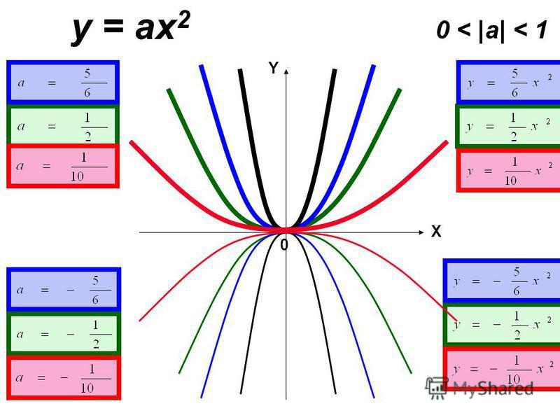 y = ax 2 0 < |a| < 1 X 0 Y