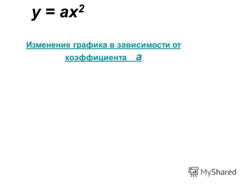 y = ax 2 Изменение графика в зависимости от коэффициента а