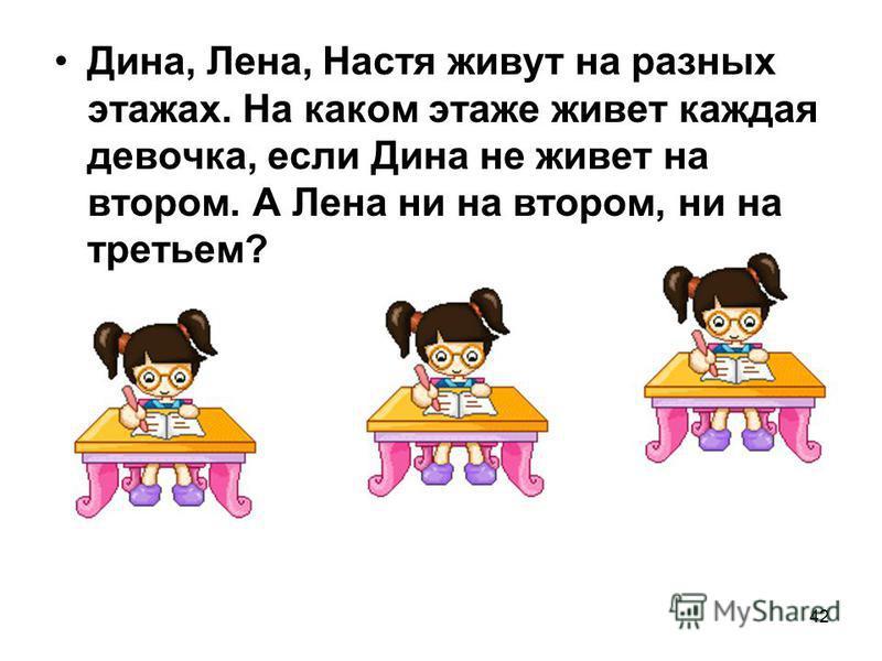 42 Дина, Лена, Настя живут на разных этажах. На каком этаже живет каждая девочка, если Дина не живет на втором. А Лена ни на втором, ни на третьем?