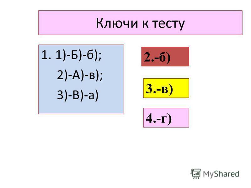 Ключи к тесту 1.1)-Б)-б); 2)-А)-в); 3)-В)-а) 2.-б) 3.-в) 4.-г)