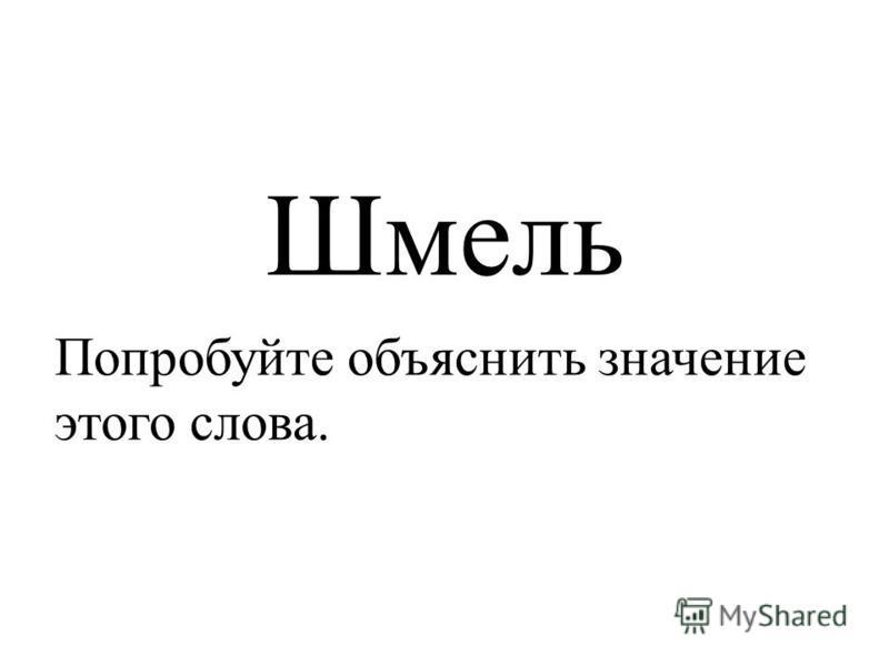 Шмель Попробуйте объяснить значение этого слова.
