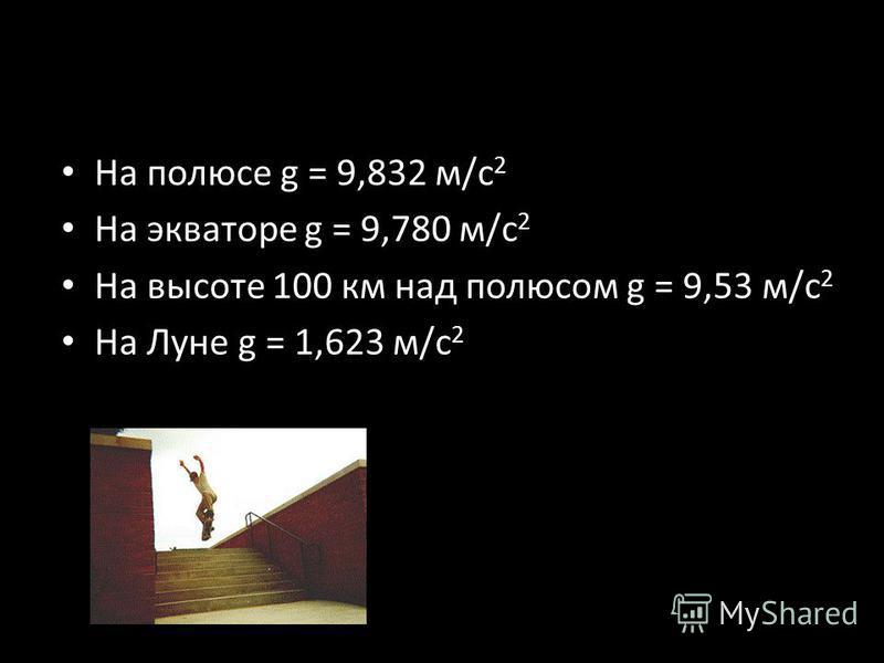 На полюсе g = 9,832 м/с 2 На экваторе g = 9,780 м/с 2 На высоте 100 км над полюсом g = 9,53 м/с 2 На Луне g = 1,623 м/с 2