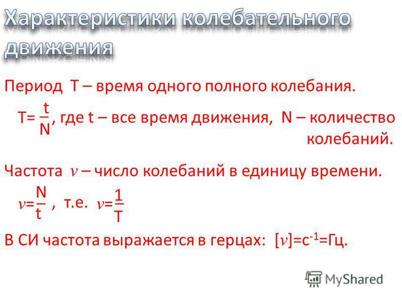 Период Т – время одного полного колебания. Т= tN tN _, где t – все время движения, N – количество колебаний. Частота v – число колебаний в единицу времени., т.е. v= v= _ Nt Nt v= v= _ 1T 1T В СИ частота выражается в герцах:[ v ]=c -1 =Гц.