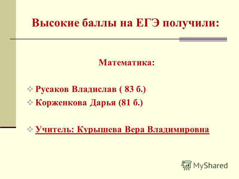 Высокие баллы на ЕГЭ получили: Математика: Русаков Владислав ( 83 б.) Корженкова Дарья (81 б.) Учитель: Курышева Вера Владимировна
