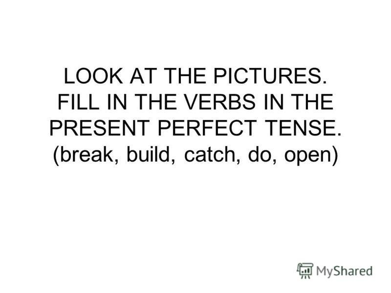 LOOK AT THE PICTURES. FILL IN THE VERBS IN THE PRESENT PERFECT TENSE. (break, build, catch, do, open)