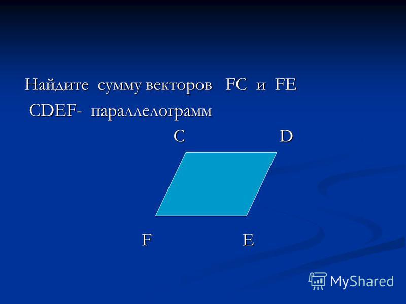 Найдите сумму векторов FC и FE СDEF- параллелограмм СDEF- параллелограмм C D C D F Е F Е