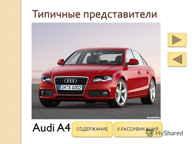 Типичные представители Audi A4 КЛАССИФИКАЦИЯ СОДЕРЖАНИЕ