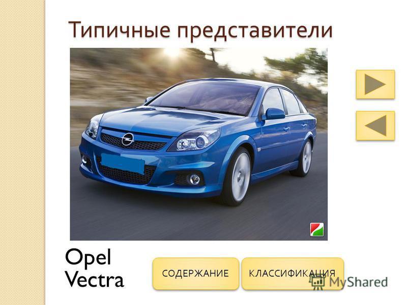 Типичные представители Opel Vectra КЛАССИФИКАЦИЯ СОДЕРЖАНИЕ