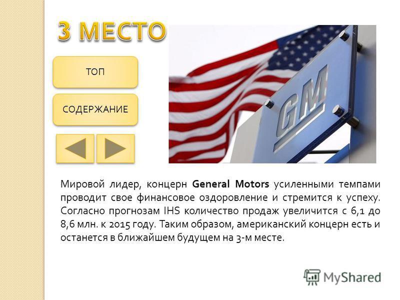 Мировой лидер, концерн General Motors усиленными темпами проводит свое финансовое оздоровление и стремится к успеху. Согласно прогнозам IHS количество продаж увеличится с 6,1 до 8,6 млн. к 2015 году. Таким образом, американский концерн есть и останет