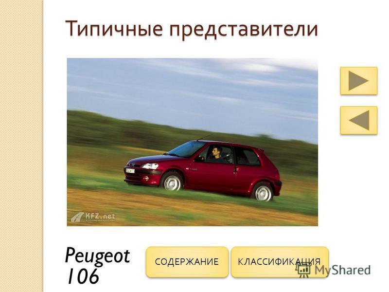 Типичные представители Peugeot 106 КЛАССИФИКАЦИЯ СОДЕРЖАНИЕ