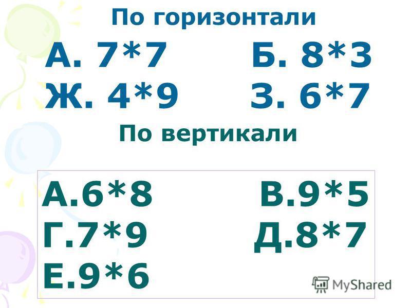 По горизонтали А. 7*7 Б. 8*3 Ж. 4*9 З. 6*7 А.6*8 В.9*5 Г.7*9 Д.8*7 Е.9*6 По вертикали