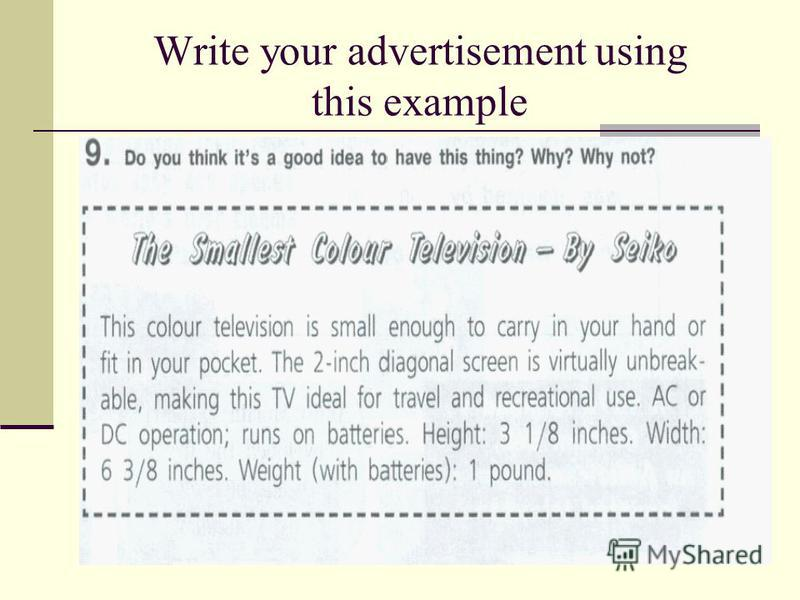 Write your advertisement using this example