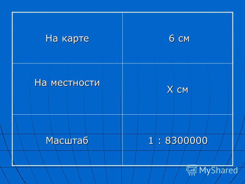 На карте 6 см 6 см На местности Х см Масштаб 1 : 8300000