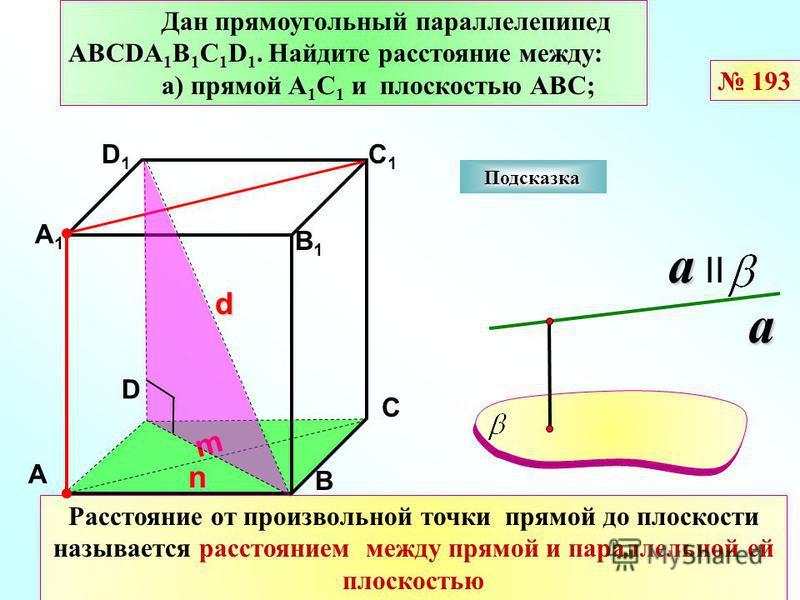 D А В С А1А1 D1D1 С1С1 В1В1 Подсказка Дан прямоугольный параллелепипед АВСDА 1 В 1 С 1 D 1. Найдите расстояние между: а) прямой А 1 С 1 и плоскостью АВС; a a IIa Расстояние от произвольной точки прямой до плоскости называется расстоянием между прямой