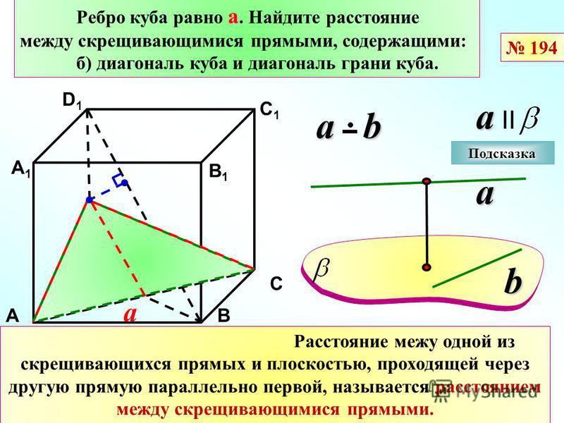 а Ребро куба равно а. Найдите расстояние между скрещивающимися прямыми, содержащими: б) диагональ куба и диагональ грани куба. D АВ С D1D1 С1С1 а В1В1 А1А1 a a II Расстояние межу одной из скрещивающихся прямых и плоскостью, проходящей через другую пр
