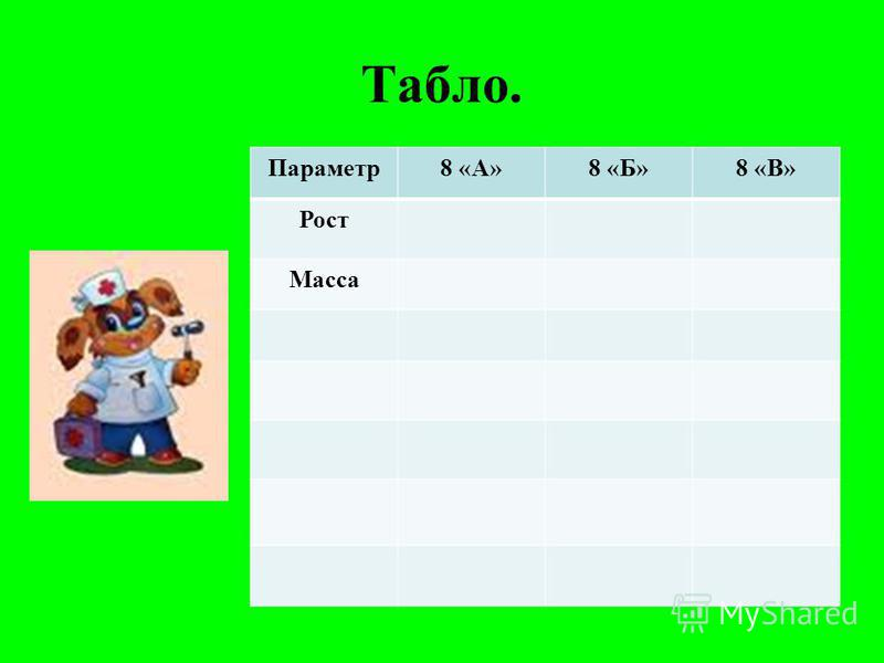 Табло. Параметр 8 «А»8 «Б»8 «В» Рост Масса