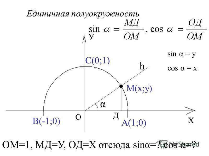 Х У О А(1;0) В(-1;0) С(0;1) Единичная полуокружность h М(х;у) α Д ОМ=1, МД=У, ОД=Х отсюда sing=? cos α=? sin α = у cos α = х