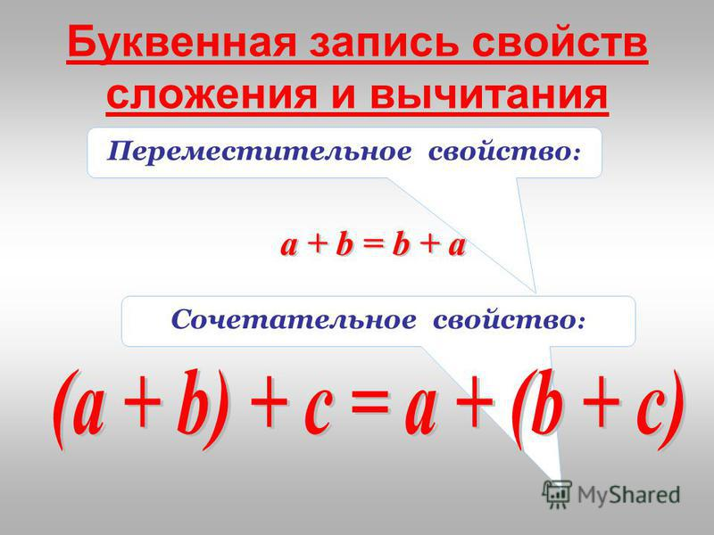 Сочетательное свойство : Переместительное свойство : Буквенная запись свойств сложения и вычитания