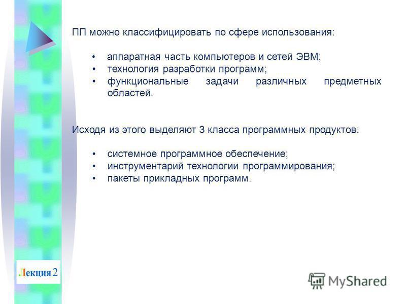 ПП можно классифицировать по сфере использования: аппаратная часть компьютеров и сетей ЭВМ; технология разработки программ; функциональные задачи различных предметных областей. Исходя из этого выделяют 3 класса программных продуктов: системное програ