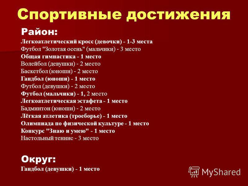 Спортивные достижения Район: Легкоатлетический кросс (девочки) - 1-3 места Футбол