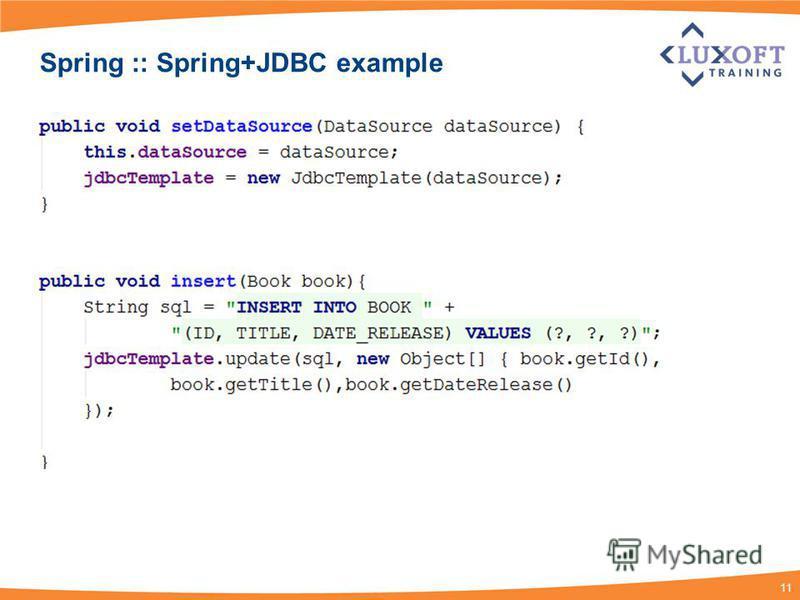 11 Spring :: Spring+JDBC example