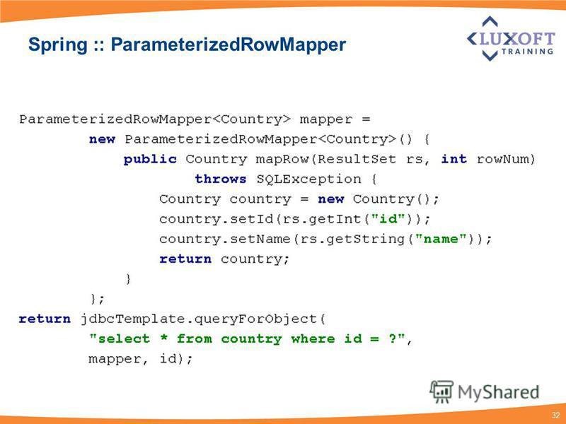 32 Spring :: ParameterizedRowMapper