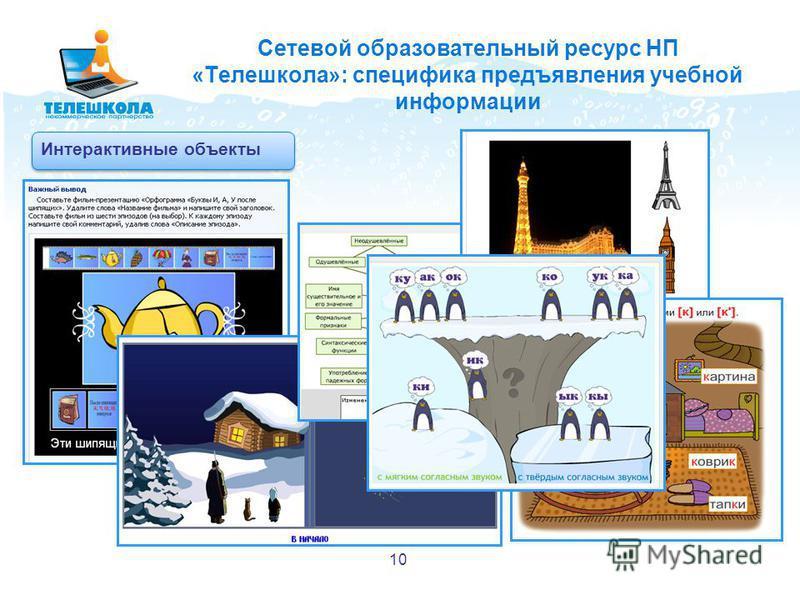 Сетевой образовательный ресурс НП «Телешкола»: специфика предъявления учебной информации Интерактивные объекты 10