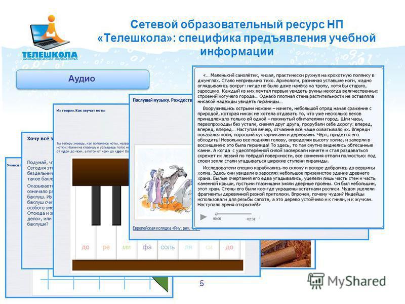 Сетевой образовательный ресурс НП «Телешкола»: специфика предъявления учебной информации Аудио 5