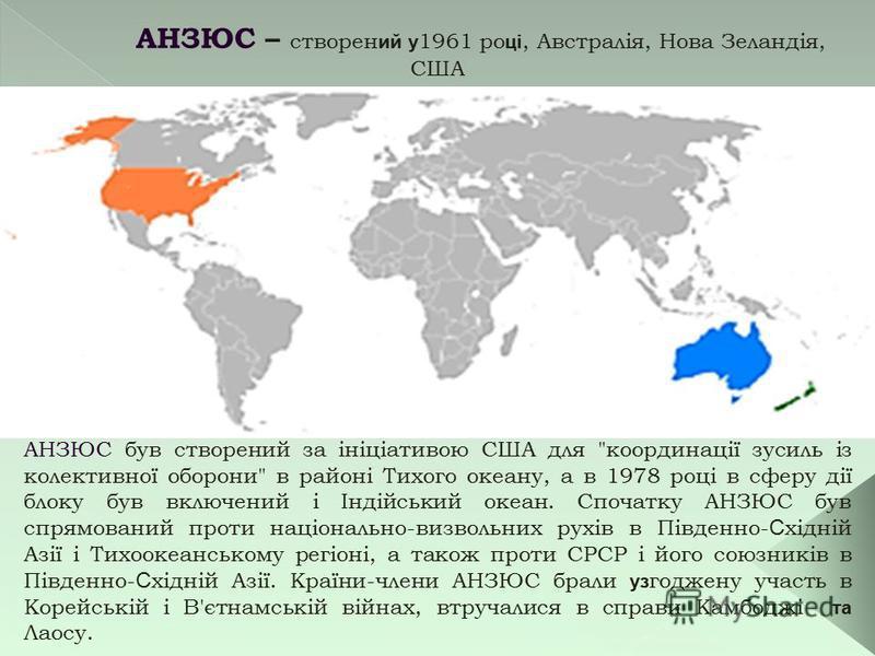 АНЗЮС – створен ий у 1961 ро ці, Австралія, Нова Зеландія, США АНЗЮС був створений за ініціативою США для