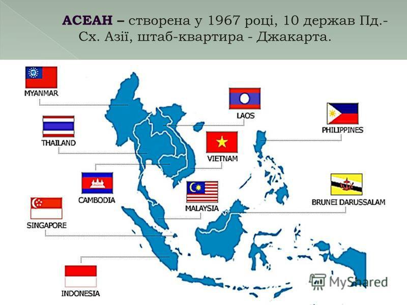 АСЕАН – створена у 1967 році, 10 держав Пд.- Сх. Азії, штаб-квартира - Джакарта.