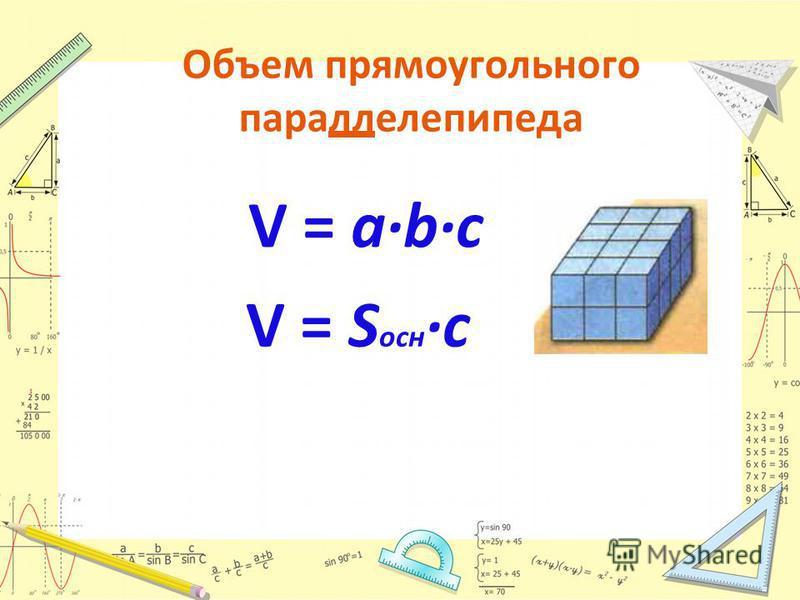 Объем прямоугольного параллелепипеда V = abc V = S осн c