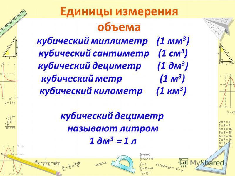 Единицы измерения объема кубический миллиметр (1 мм 3 ) кубический сантиметр (1 см 3 ) кубический дециметр (1 дм 3 ) кубический метр (1 м 3 ) кубический километр (1 км 3 ) кубический дециметр называют литром 1 дм 3 = 1 л