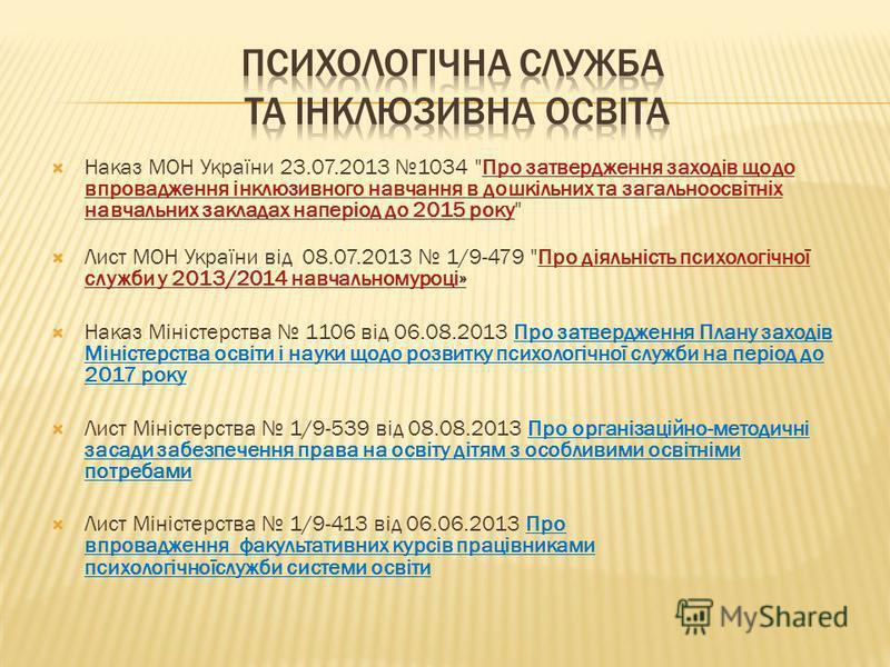 Наказ МОН України 23.07.2013 1034