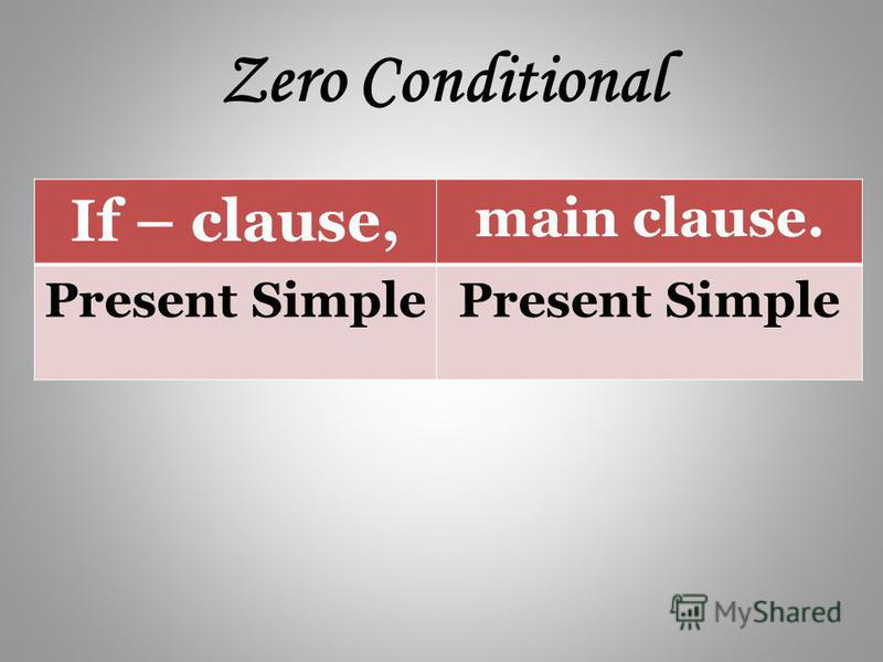 Zero Conditional If – clause, main clause. Present Simple