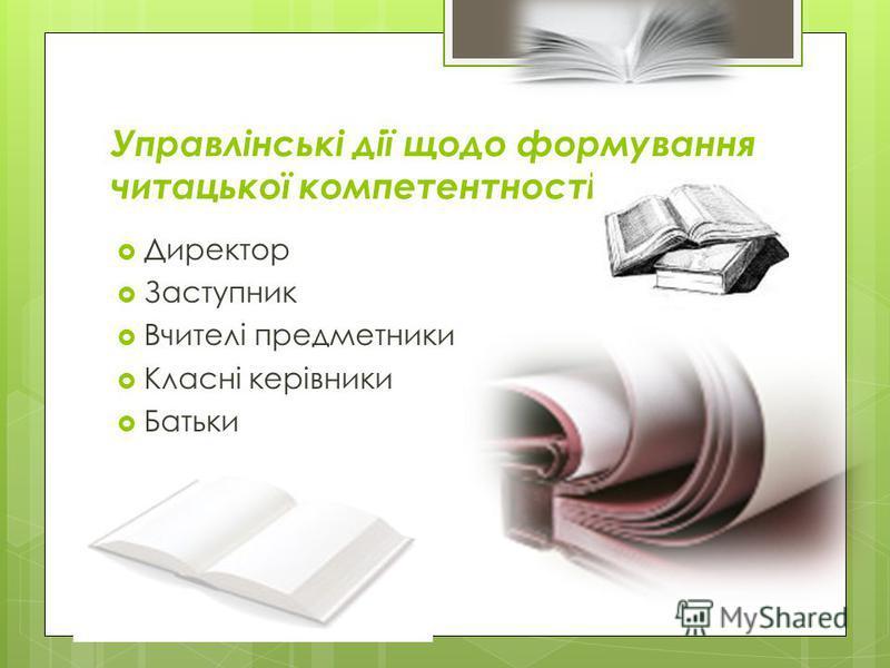 Управлінські дії щодо формування читацької компетентності Директор Заступник Вчителі предметники Класні керівники Батьки