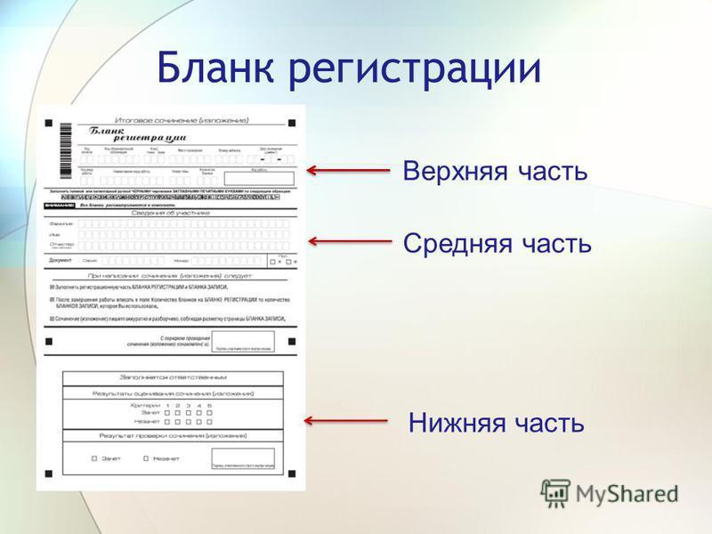 Бланк регистрации Верхняя часть Средняя часть Нижняя часть