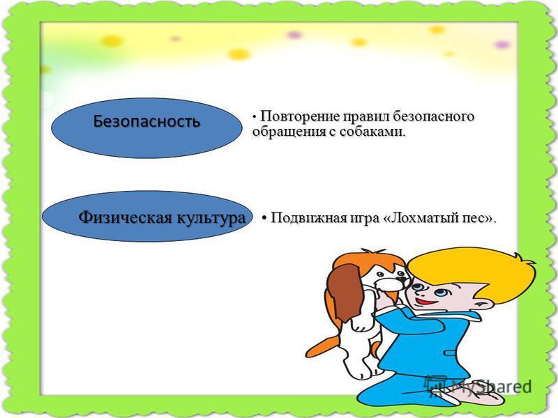 Безопасность Физическая культура Повторение правил безопасного обращения с собаками. Подвижная игра «Лохматый пес».