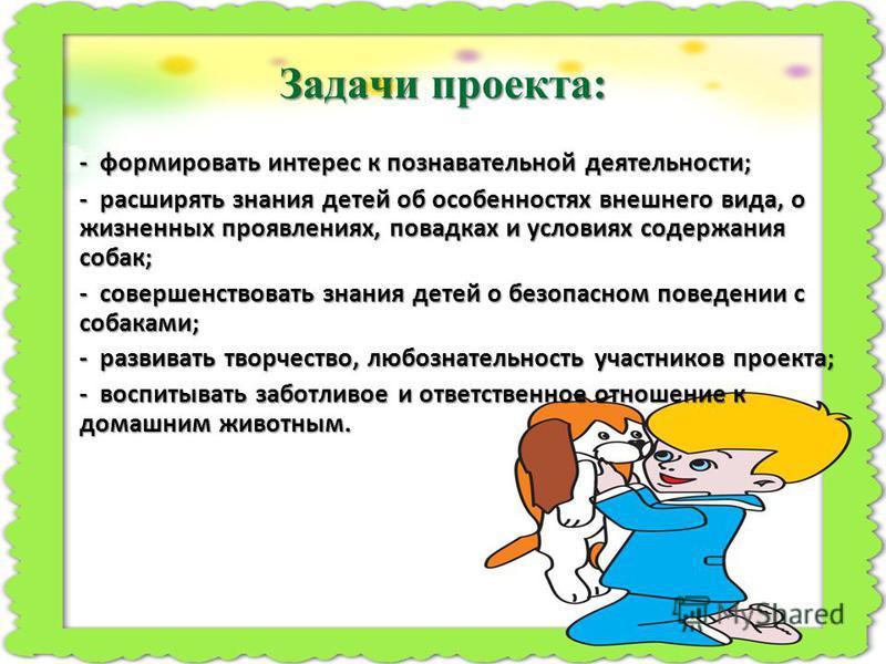 Задачи проекта: - формировать интерес к познавательной деятельности; - расширять знания детей об особенностях внешнего вида, о жизненных проявлениях, повадках и условиях содержания собак; - совершенствовать знания детей о безопасном поведении с собак
