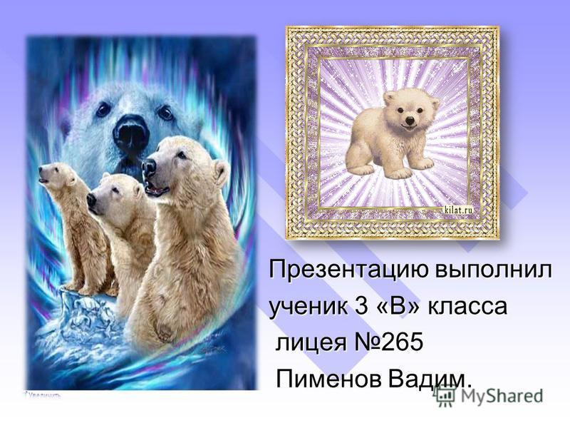Презентацию выполнил ученик 3 «В» класса лицея 265 лицея 265 Пименов Вадим. Пименов Вадим.