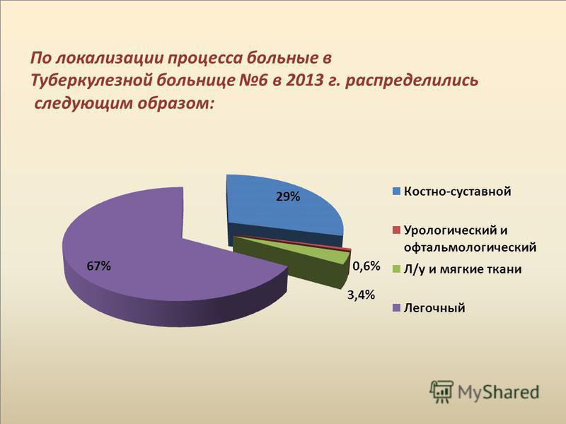 По локализации процесса больные в Туберкулезной больнице 6 в 2013 г. распределились следующим образом: