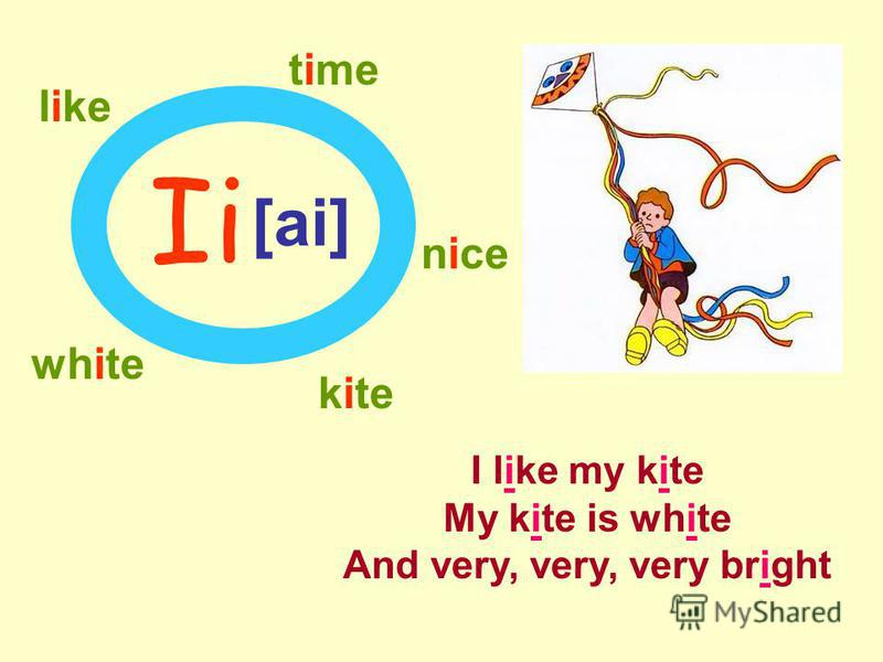 Ii [ai] kite like time nice white I like my kite My kite is white And very, very, very bright
