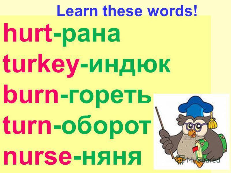 hurt-рана turkey-индюк burn-гореть turn-оборот nurse-няня Learn these words!
