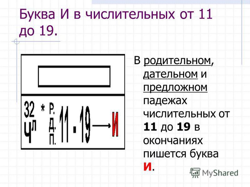 Буква И в числительных от 11 до 19. В родительном, дательном и предложном падежах числительных от 11 до 19 в окончаниях пишется буква И.