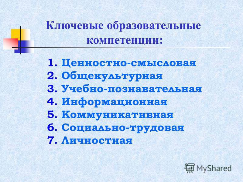 Ключевые образовательные компетенции: 1. Ценностно-смысловая 2. Общекультурная 3. Учебно-познавательная 4. Информационная 5. Коммуникативная 6. Социально-трудовая 7. Личностная