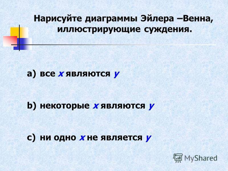 a)все х являются у b)некоторые х являются у c)ни одно х не является у